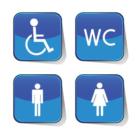 wc icône vecteur bleu illustration Vecteurs