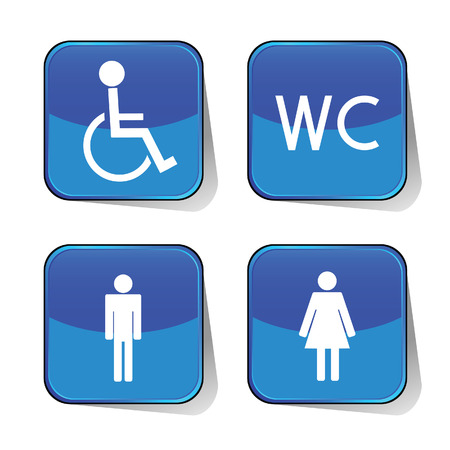 bathroom sign: wc icon blue vector illustration