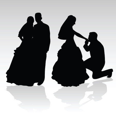 a newly married couple: wedding couple silhouette art vector illustration in black Illustration