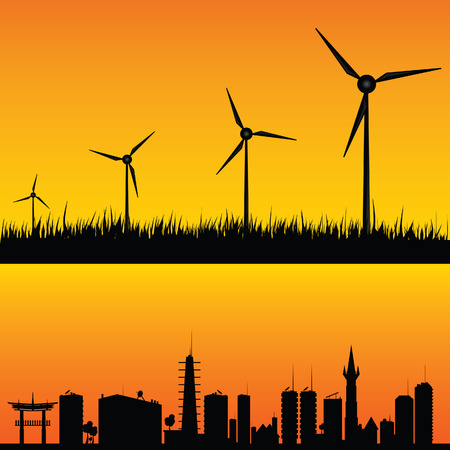 windmills to generate electricity vector illustration on a color background Vector