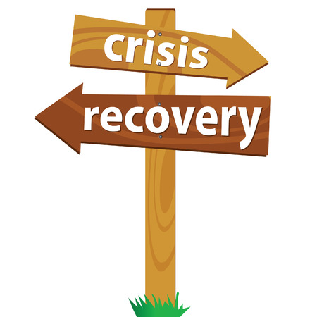 two way traffic: wooden signpost for the crisis and recovery Illustration