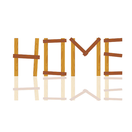 rennovation: word written in house by wood illustration on white