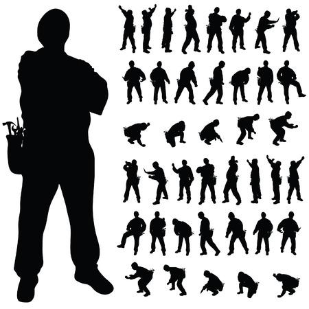 travailleur silhouette noire dans diverses poses art illustration