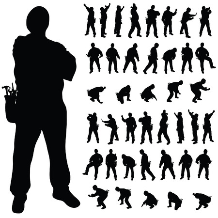 heavy construction: worker black silhouette in various poses art illustration