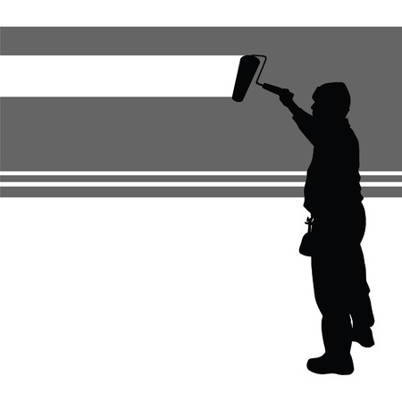 worker paint wall vector illustration on a white background