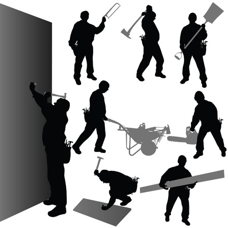 worker with their tool vector illustration on white Vector