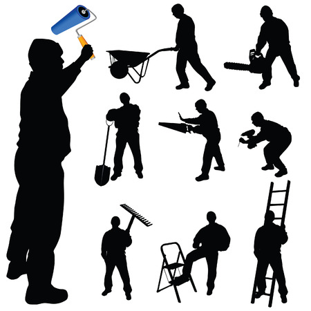 workers in various trades and tools vector illustration Vector