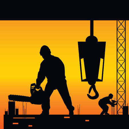 wheeled tractor: workers on a construction site vector illustration