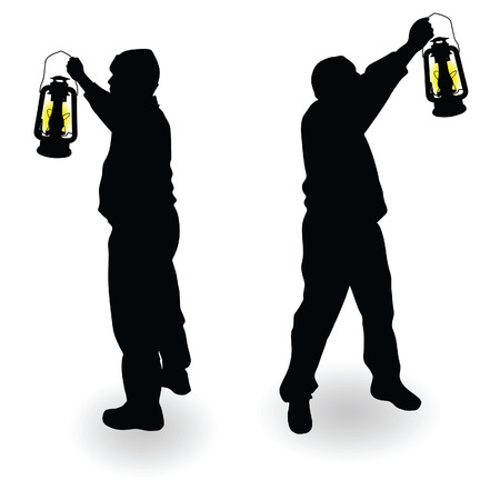working man: working man with lantern in hand black silhouette Illustration
