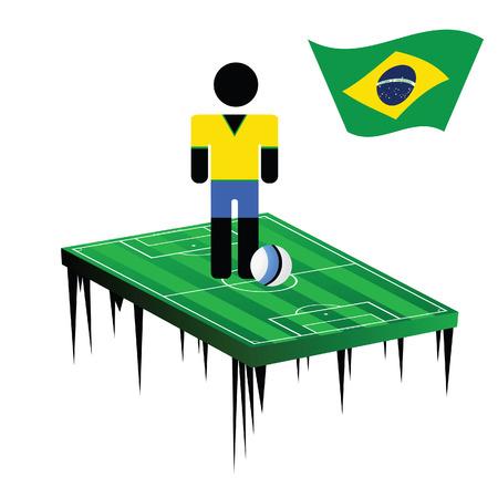 brasil: brasil with football player color vector