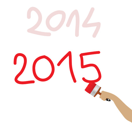 written: 2015 written with red brush on white background