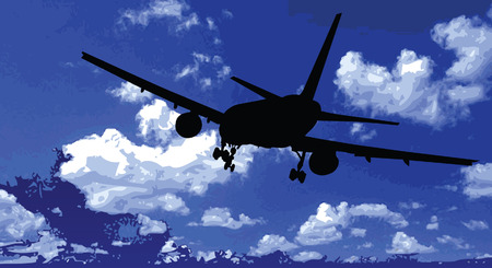 interceptor: airplane black silhouette in the blue sky vector illustration