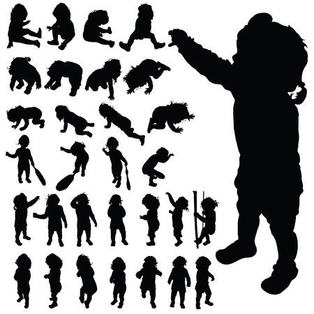 Baby niedlich posieren schwarz Vektor-Silhouette auf weißem Hintergrund