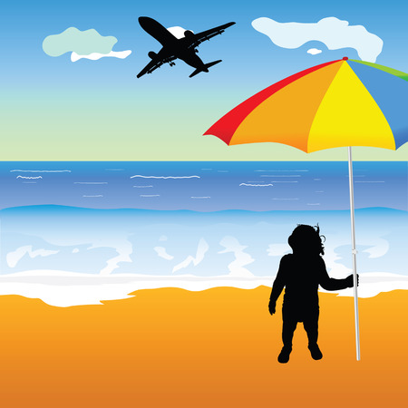 holing: baby holing umbrella on the beach illustration Illustration