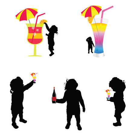 cold drink: baby silhouette with cold drink illustration on white