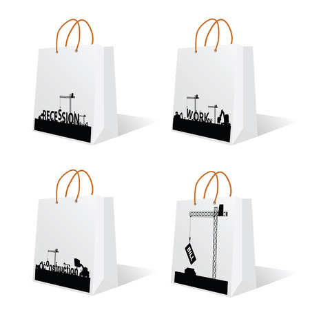 bag with recession and work sign vector Vector