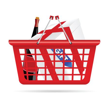 gift basket: basket for supermarket with gift vector illustration