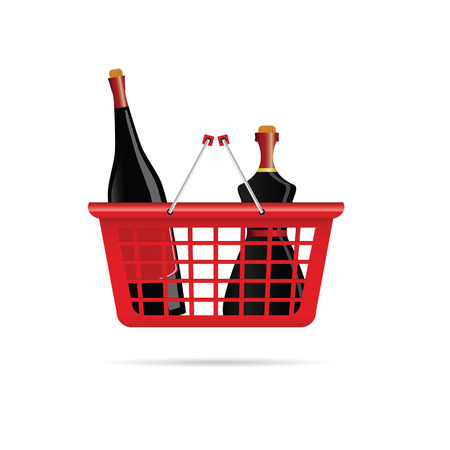 vermouth: basket with bottle of wine color vector illustration