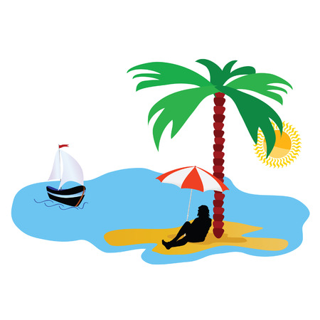 idyll: beach with palm tree and sea and summer idyll vector illustration