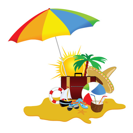 freshens: beach with stuff art vector illustration part five