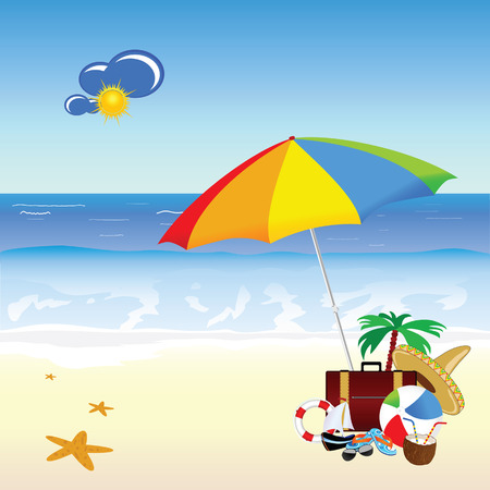 freshens: beach with stuff art vector illustration on a color
