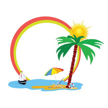 palm tree vector: beauty beach an palm tree vector illustration Illustration
