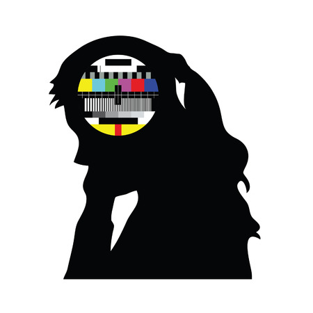 beauty girl and tv test vector illustration Vector