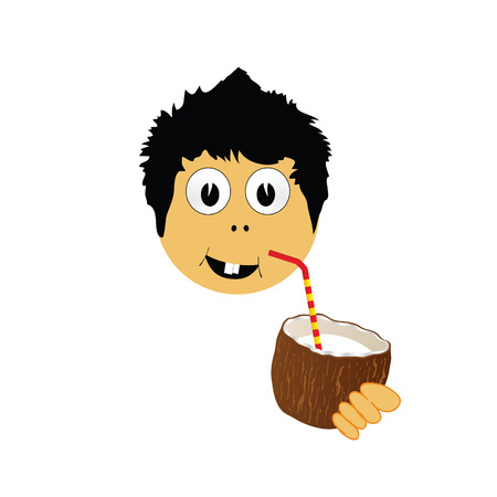 freshens: boy drink coconut milk vector illustration