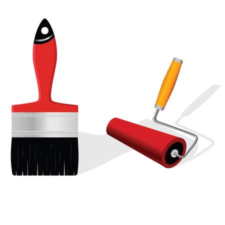 rollerbrush: brush and roller vector illustration
