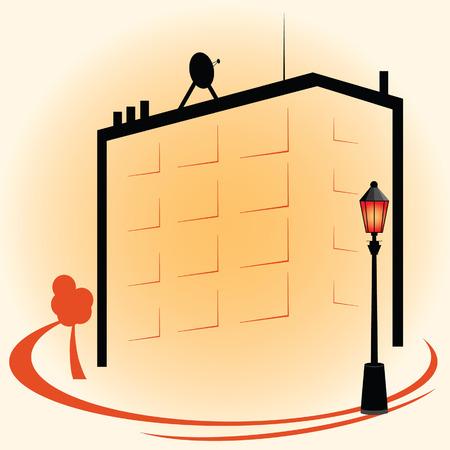 street lights: building with street lights icon color vector illustration Illustration
