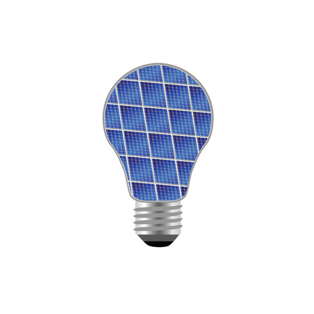 buld: bulb with blue solar panel vector illustration on white