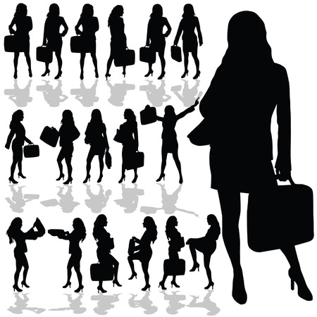 black woman: business woman with a bag black silhouette