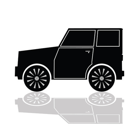 rev counter: car in black color vector illustration on white background Illustration