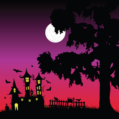 sweet and beauty castle with bats vector part three Vector