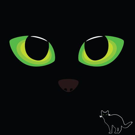 cat eye: cat eye in green color with black cat illustration Illustration