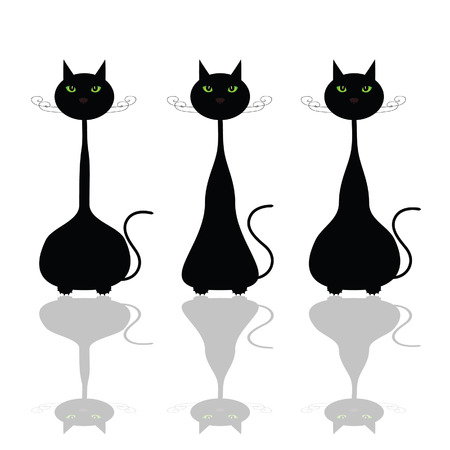 perplexity: cat with green eye illustration art vector