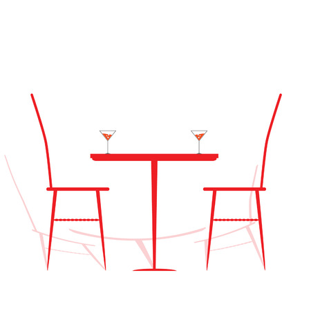 chair and table with wine on it vector illustration Vector