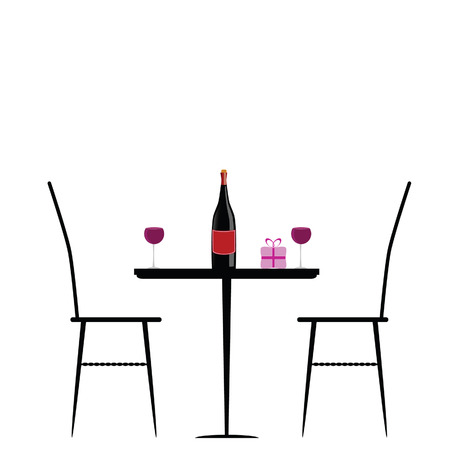 dinner date: chair and table with wine vector illustration Illustration