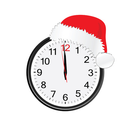 midnight hour: christmas red hat on clock illustration with white background Illustration