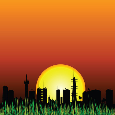 cityview: city and the sunset vector silhouette illustartion
