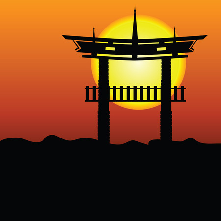 rockies: chinese construction illustration silhouette vector with sun eps10