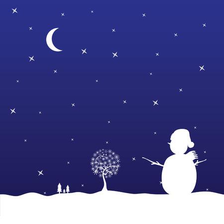 christmas eve with snowman vector illustration