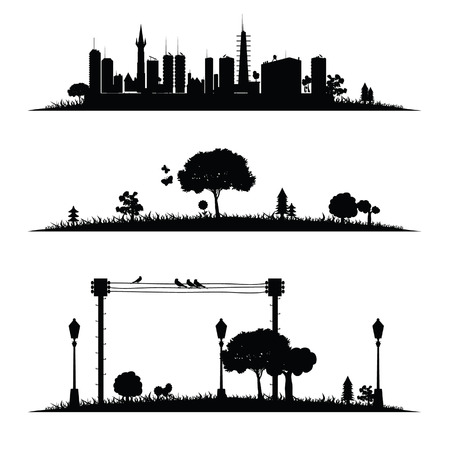 stylized: city and nature vector illustration