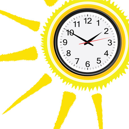 sun illustration: clock classic in sun illustration on white Illustration