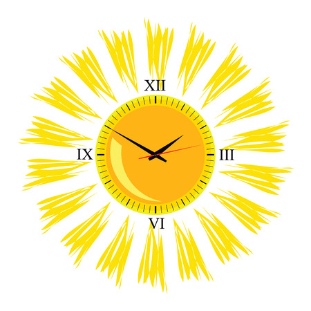 sun illustration: clock in the sun illustration vector on white