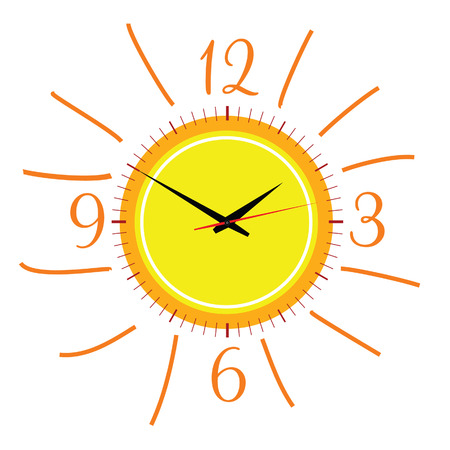 sun illustration: clock in the sun illustration vector two on white Illustration