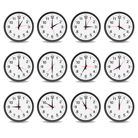 clock that show every hour vector illustration on white Vettoriali