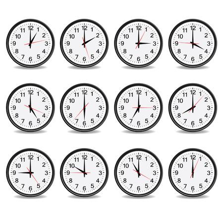 reloj pared: reloj que muestra cada hora ilustración vectorial en blanco
