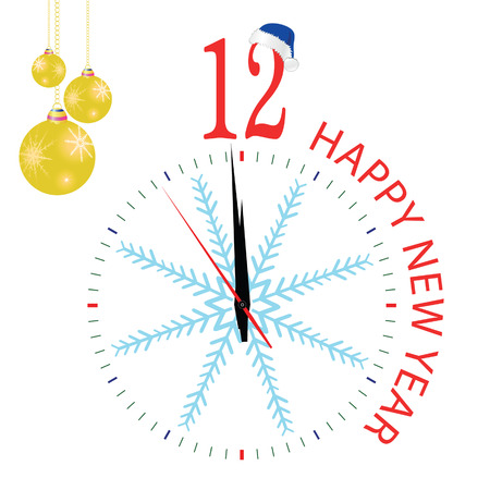 midnight hour: clock with blue snowflake for new year on white