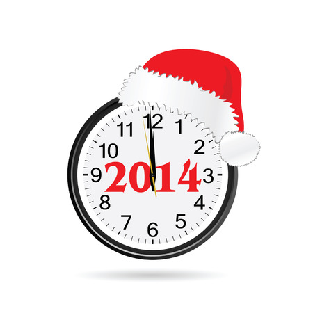 clock with christmas hat color vector illustration Vector